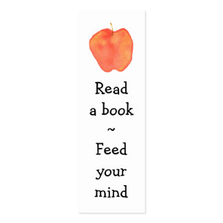 Reading Apple Mini Bookmark - Pack Of Skinny Business Cards