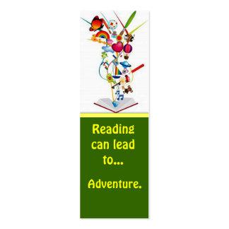 reading book adventure bookmark business card template