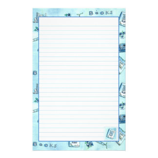 Reading Books Pastel Blue Lined Stationery Paper