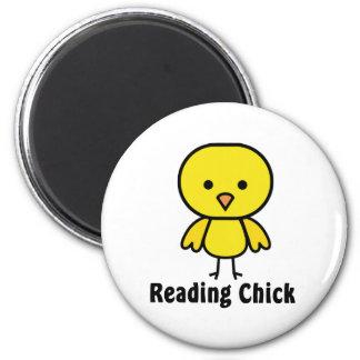Reading Chick 6 Cm Round Magnet