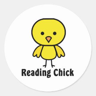 Reading Chick Round Sticker