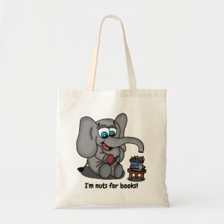 Reading Elephant: I'm Nuts for Books Tote Bag