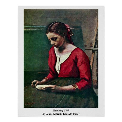 Reading Girl By Jean-Baptiste Camille Corot Poster