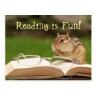 Reading is Fun! Chipmunk Postcard