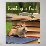 Reading is Fun Chipmunk Poster