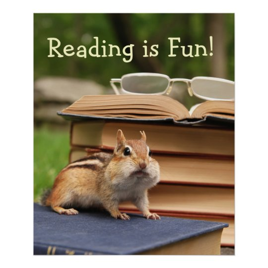 Reading is Fun Chipmunk Poster