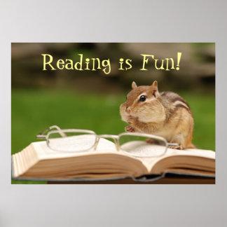 Reading is Fun! Chipmunk Poster