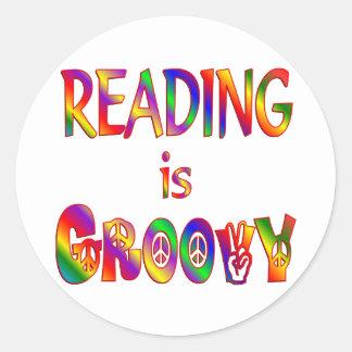 Reading is Groovy Round Sticker