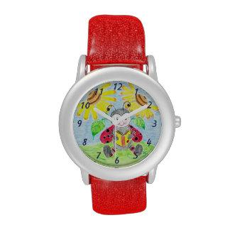 Reading ladybug kid glitter watch