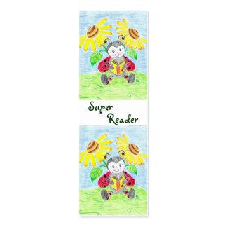 Reading ladybug mini bookmarks Double-Sided mini business cards (Pack of 20)