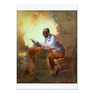 Reading Newspaper by Candlelight 13 Cm X 18 Cm Invitation Card