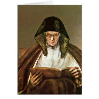 Reading Old Woman By Rembrandt Van Rijn Card