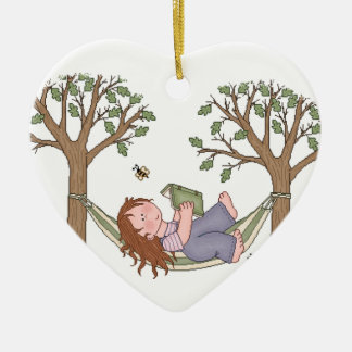 Reading Outdoors Is Fun! Ceramic Heart Decoration