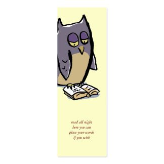 reading owls customizable bookmark pack of skinny business cards