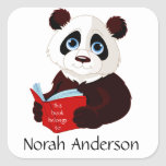 Reading Panda Bookplate Sticker