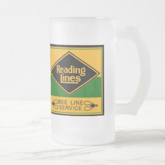 Reading Railroad,Bee Line Service Frosted Glass Mug