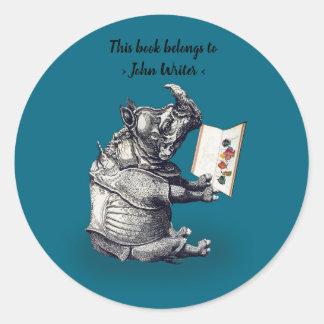 Reading Rhinoceros loves books Classic Round Sticker