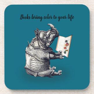 Reading Rhinoceros loves books Coaster
