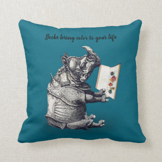 Reading Rhinoceros loves books Cushion