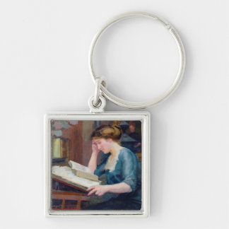 Reading Silver-Colored Square Key Ring