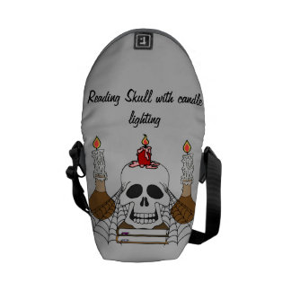 Reading Skull with candle lighting Courier Bag
