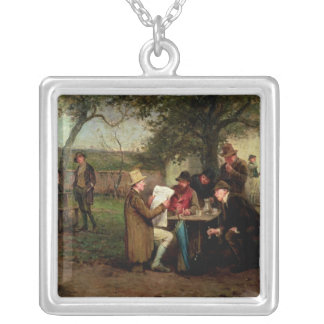 Reading the News Silver Plated Necklace