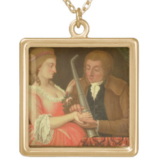 Reading the Palm oil on canvas Pendant