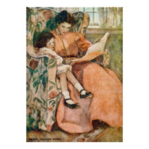 Reading with Mother on a Rainy Day Poster