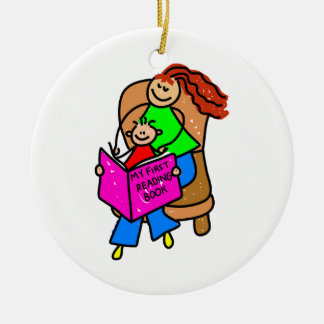 Reading With Mum Christmas Ornament