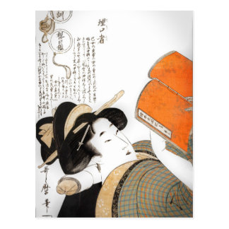 Reading Woman by Utamaro Postcard