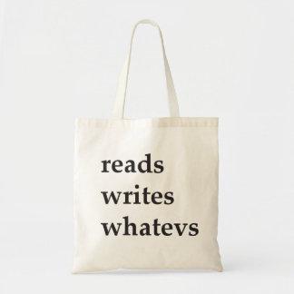 reads writes whatevs tote bag