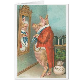 """Ready for Dinner"" Vintage Pig Greeting Card"