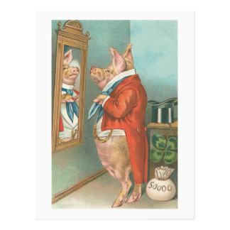 """Ready for Dinner"" Vintage Pig Postcard"