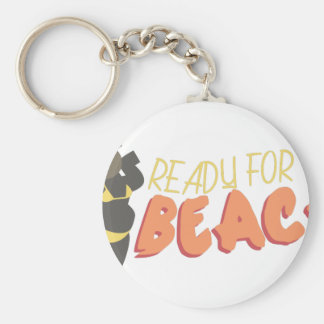 Ready For The Beach Basic Round Button Key Ring