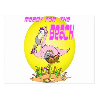 Ready for the BEACH Flamingo Postcard
