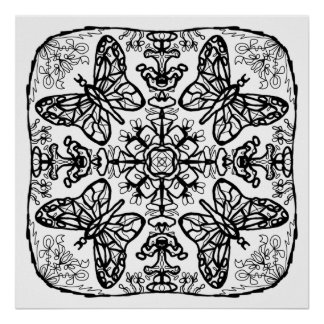 Ready to Color Butterfly Mandala Poster