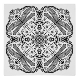 Ready to Color Dragonfly Mandala Poster