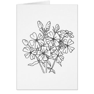 Ready to Color Phlox Greeting Card