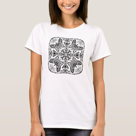 Ready to Colour Butterfly Mandala Women's Shirt