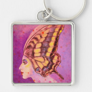 Ready to Fly, a creative mind Silver-Colored Square Key Ring