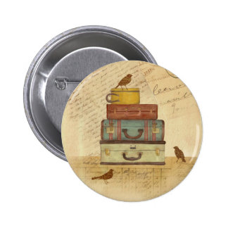 """""""Ready To Fly"""" Vintage Style Illustration Button"""