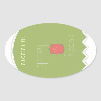 """Ready to Hatch"" Baby Shower oval stickers"