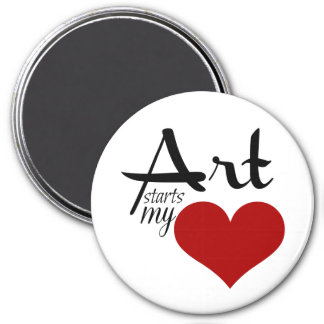 "Ready to personalize  ART STARTS MY ♥ 3"" magnet"