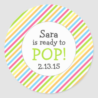 Ready to Pop Baby Shower Favor / gender neutral Round Sticker