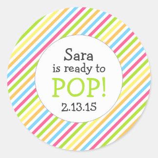 Ready to Pop Baby Shower Favor / gender neutral Round Sticker