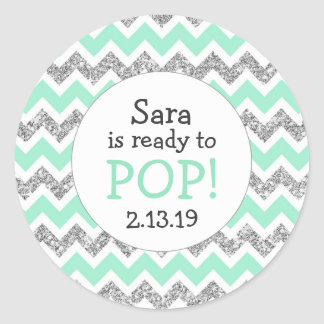 Ready to Pop Baby Shower Favor mint glitter Classic Round Sticker