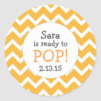 Ready to Pop Baby Shower Favor / orange chevron Round Sticker