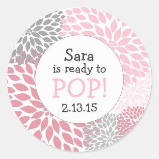 Ready to Pop Baby Shower Favor / pink dahlia mum Round Sticker