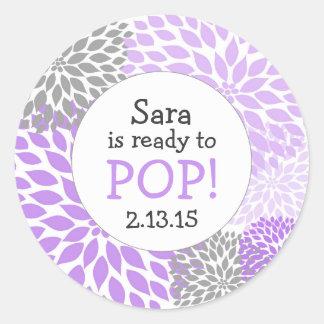 Ready to Pop Baby Shower Favor / purple dahlia mum Round Sticker