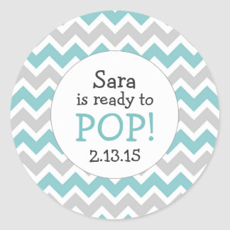 Ready to Pop Baby Shower Favor / teal chevron Round Sticker